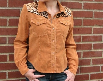 Vintage western shirt copper pearl snap corduroy leopard satin 1980s restyled