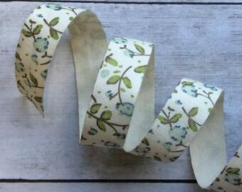 Cotton Ribbon Cream Floral Blue Flowers