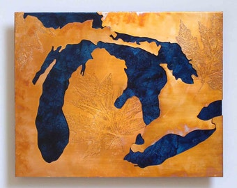 Copper map art of the Great Lakes / Michigan, blue & copper, 8x10 inches