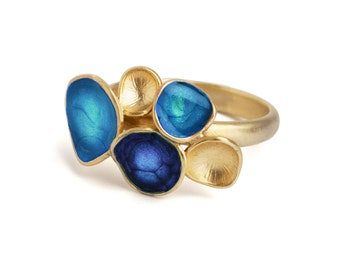 Blue gold ring, ocean blue jewelry, geometric ring, colorful jewelry, blue statement ring, enamel jewelry, bright blue ring