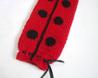 Crochet Plastic Bag Holder Ladybug Red and Black