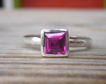 Rhodolite Garnet Ring, Princess Cut Solitaire or Stacking Ring in Sterling Silver, Raspberry Gem, January Birthstone Ring