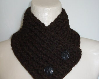 Horse Lover's Brown Handknit Neckwarmer Scarflette Scarf with Horse Buttons