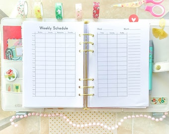 WEEKLY SCHEDULE Half Letter Size Printable PDF Weekly Planner Book Homeschool Planner Weekly Filofax Inserts diy Planner Instant Download.