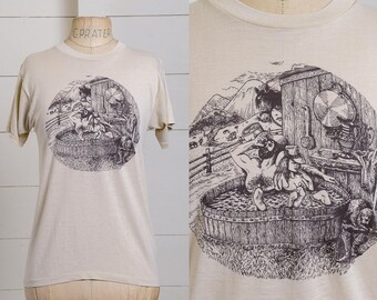 1980 Cowboy Bathtub Scene G. Walter Drunk Redneck Western T Shirt