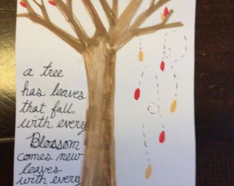 Falling Leaves Watercolor with Poem