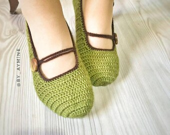 Crochet Mary Jane Slippers ,womens home shoes ,crochet slippers ,crochet slippers ,christmast crochet slippers,christmast gift