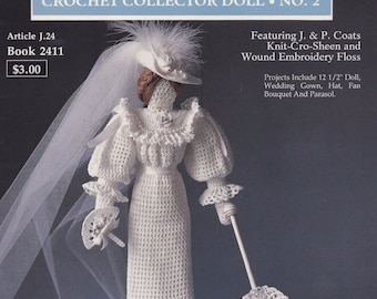 Victorian Bride Collector Doll, South Maid J P Coats Crochet Doll Pattern Booklet 2411
