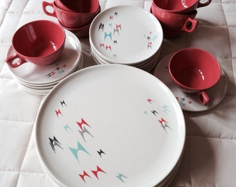 "1950's Vintage ""Rare"" Branchell Melmac ""Flyte"" Pattern by Kaye LaMontayne 33 piece dinnerware set"