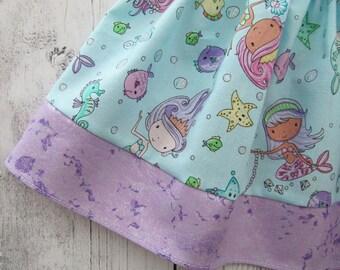 Mermaid First Birthday Outfit in purple aqua mermaid print -under the sea,girl birthday outfit, shell one, mermaid birthday