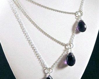 Silver Amethyst Necklace with a Trio of Gemstones