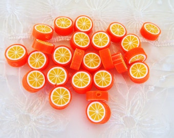 Fimo Polymer Clay Round Flat Beads Colorful Orange Fruit 10mm approx. - 5 pieces