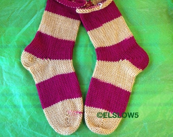 Gryffindor Wins! Handknit Socks in Bold Stripes 1 pair fits US adult size 7 to 9 Fabulous Funky Footwear
