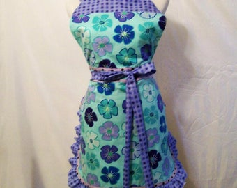 Woman's Aqua Purple Aqua Apron, Womans Full Apron, Kitchen Apron, Serving Apron, Handmade Apron, Gift for Mom, Made in the USA,  #5A