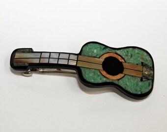 ARTISTIC HANDMADE BARRETTE Guitar Stone & Shell Hair Clip