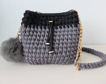 Bag Knitted bag Gray bag Bucket bag Crochet Bag Bag of knitted yarn  Handmade bag Stylish bag Lady is bag Crossbody bag Minaudiere Hand bag