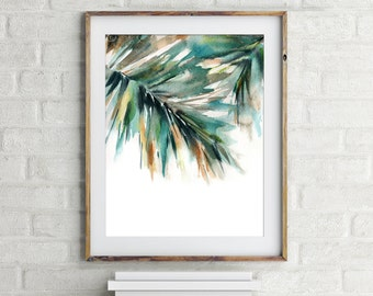 Palm Leaves Print, Abstract Green Wall Art, White Background, Watercolor Painting Modern Art