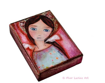 Angel of Peace - ACEO Giclee print mounted on Wood (2.5 x 3.5 inches) Folk Art  by FLOR LARIOS