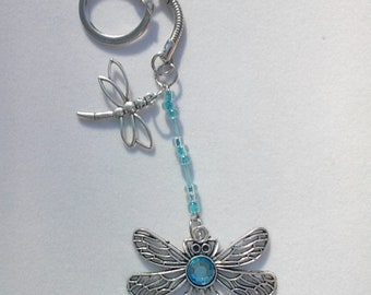 Silver Dragonfly Key Chain with Baby Blue Beading - Item 2018-125