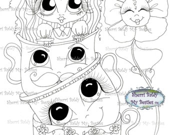INSTANT DOWNLOAD Digital Digi Stamps Big Eye Big Head Dolls Img165 Alice In The Looking Glass Bestie By Sherri Baldy