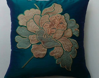 Dahlia flower pillow, embroidered pillow, teal blue pillow cover, decorative pillow 18 inch