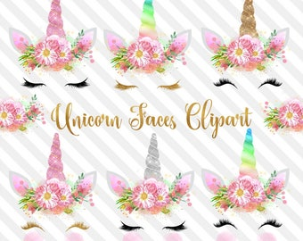Unicorn Faces Clipart, rainbow, pink and gold watercolor unicorn horn clip art, glitter unicorn graphics, baby shower, weddings