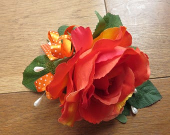 Orange Rose Wrist Corsage, Wedding, Prom, Anniversary.