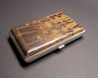 Genuine LIZARD leather card holder, Metal box card holder, business card case, credit card case, exotic leather case