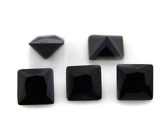 Cubic Zirconia Jet Black Square AAA Wholesale Lot Loose Stones (2x2mm - 14x14mm)