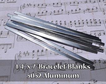 "100-5052 Aluminum 1/4"" x 7"" Bracelet Cuff Blanks - Polished Metal Stamping Blanks - 14G 5052 Aluminum - Flat - Longer Cuff"