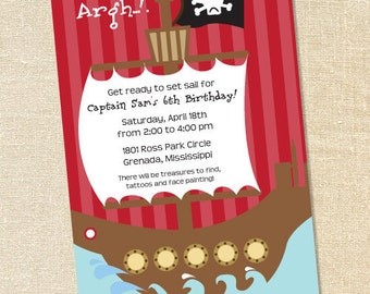"""Sweet Wishes """"Argh..!"""" Says the Pirate Pool Party Invitations - PRINTED - Digital File Also Available"""