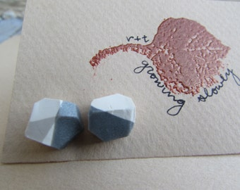 Geometric Stud Earrings - White and Silver/Grey