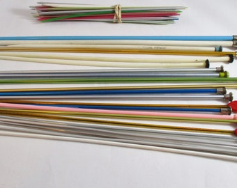 Knitting Needles, Regular And Double Sided, Several Mismatched Sizes