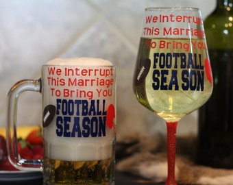 Couple Sports Beer Mug and Wine Glass Set