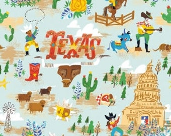 Texas Main Blue - Riley Blake Designs - Cowboy - Quilting Cotton Fabric - choose your cut