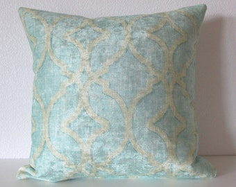 Nuri Pool lattice aqua blue distressed velvet decorative pillow cover