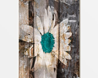 Vintage Farmhouse Decor, Rustic Modern Teal Brown Sunflower Home Decor Wall Art Matted Picture