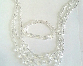 Clear Faceted Crystal Necklace, Bracelet Wedding Set, Party Jewelry, Long Statement Necklace, Bridal Jewelry Set, Handmade Elegant Jewelry