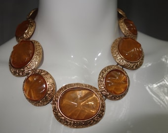Vintage YSL Robert Goossens for Yves Saint Laurent Couture Limited Edition Rose Metal and Amber Poured Glass Necklace  RESERVED!