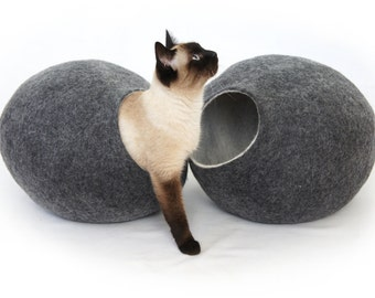 Cat bed, house, cave. Size S (Small). Natural felted sheep wool. Color dark grey. Made by kivikis.