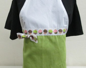 Personalized Apron Woman's Lime Green with Cupcake Ribbon