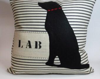 Black Lab Pillow - Decorative Black Lab Pillow Cushion Cover - Dog Pillow, Black Lab Silhouette, Custom Dog Name Pillow, Dog Gift, Labrador