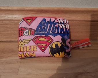 Custom - dc comics - purse wallet clutch - wonder woman super girl bat girl
