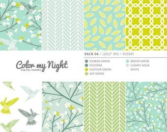 80% OFF SALE Digital Paper Green 'Pack04' Blossom Flowers, Hummingbirds, Leaves... Digital Download Patterns for Scrapbook, Invitations...