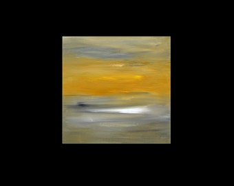 """Abstract Yellow Sky Painting Sunset Yellow Grey Abstract Painting Acrylic Small Canvas Art Abstract Landscape Painting 8x8"""""""