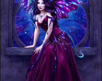 Andromeda Fine Art Print - galaxy wing dragon art