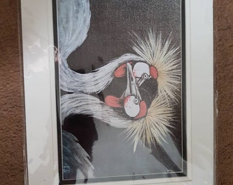 African Crowned Crane Mounted Print