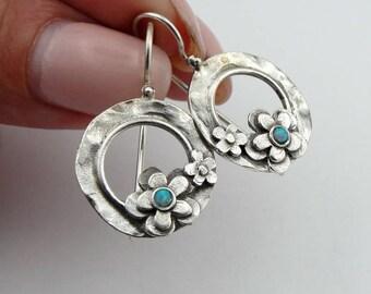Reserved for Deborah - Opal 925 Silver Earrings, Blue Opal  Flower Earrings,  Silver Opal stone flowers Hoop Earrings, Girls Gift (e2619)