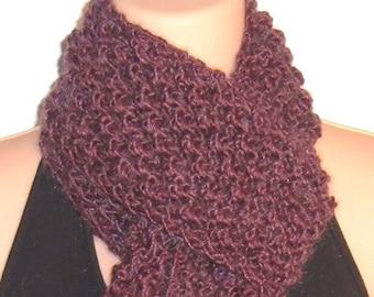 Hand Knit Trinity Scarf Merino Wool Kid Mohair  PLUM