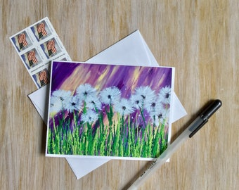 Notecard - Dandelion Note Card - Blank Card - All Occasion Card  - Stationery Set - Birthday Card -One of a Kind Card